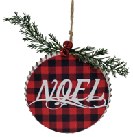 Plaid Noel Ornament