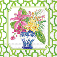 Rosanne Beck Flowers in Urns Green Cocktail Napkins