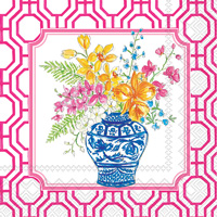 Rosanne Beck Flowers in Urns Pink Cocktail Napkins
