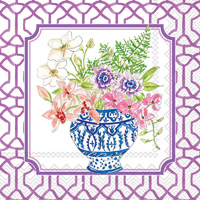 Rosanne Beck Flowers in Urns Blue Cocktail Napkins