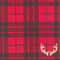 Red Flannel Antlers Cocktail Napkins