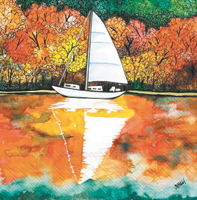 Autumn on the Lake Cocktail Napkin