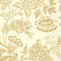 Florence Cream/Gold Cocktail Napkins