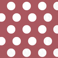 Big Dots Maroon/White Cocktail Napkins