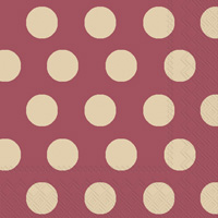 Big Dots Maroon/Gold Cocktail Napkins