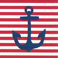 Yacht Club Anchor Red Cocktail Napkins