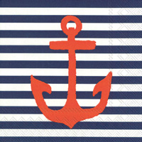 Yacht Club Anchor Blue Cocktail Napkins