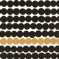Marimekko Rasymatto Black Gold Cocktail Napkin