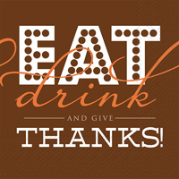 Rosanne Beck Eat Drink And Give Thanks Cocktail Napkins