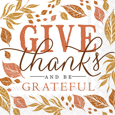 Rosanne Beck Give Thanks Cocktail Napkins