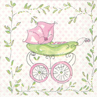 Rosanne Beck Pink Baby Carriage Cocktail Napkins