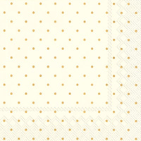 Fine Dots Cream Gold Cocktail Napkins