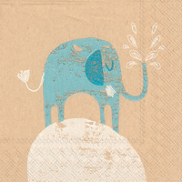 Brown Paper Little Elephant Cocktail Napkins