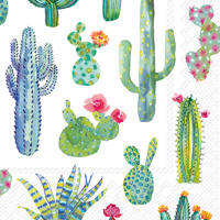 My Little Green Cactus White Cocktail Napkins