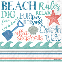 Beach Rules Cocktail Napkins