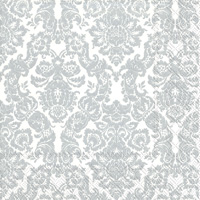 Palais White Silver Cocktail Napkins