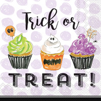 Rosanne Beck Trick or Treat Cupcakes Cocktail Napkins