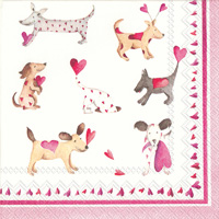 Love Heart Dogs Cocktail Napkins