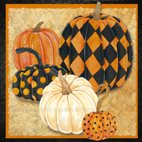 Patterned Pumpkins Cocktail Napkin