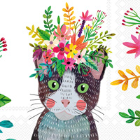Mia Charro Floral Cat Cocktail Napkin