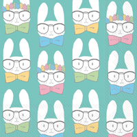 Easter Bunnies Turquoise Cocktail Napkins