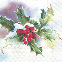 Winter Ilex Cocktail Napkin