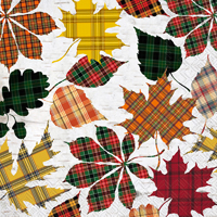 Checkered Leaves Cocktail Napkin