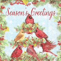 Cardinal Tree Season's Greetings Cocktail Napkin
