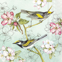 Birds Symphony Cocktail Napkin green