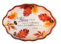 Leaf & Acorn Glass Oval Platter