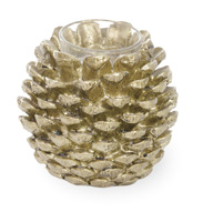 Pinecone Poetry Tealight Holder Gold