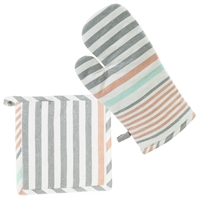 Hadley Stripe Oven Mitt & Pot Holder Set