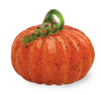 Medium Glass Pumpkin Orange with Green Stem
