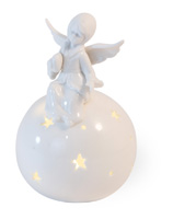 Alabaster LED Angel with Heart