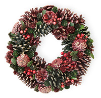 Red Pinecone Glitter Wreath