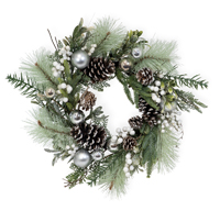 Spun Silver Evergreen Wreath