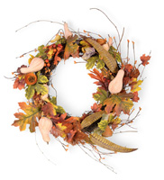 Harvest Dolls Gourd & Leaves Wreath