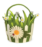 Daisy Picket Fence Felt Basket