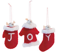 J O Y Mice Ornaments
