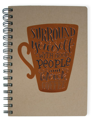 Black Coffee Wire Notebook Large