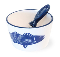 Striper Blue Bowl & Spreader Set