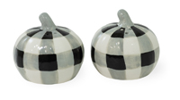 Black & White Check Pumpkin Salt & Pepper Set
