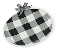 Black & White Check Pumpkin Plate