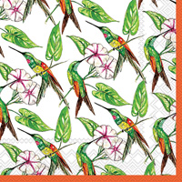 Rosanne Beck Hummingbird and Hibiscus Lunch Napkins