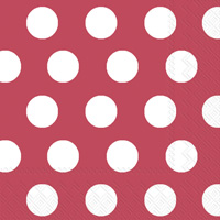 Big Dots Crimson/White Lunch Napkins