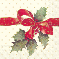 Christmas Bow Cream Lunch Napkins