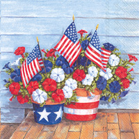 Patriotic Petunias Lunch Napkins