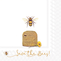 Save the Bees White Lunch Napkins