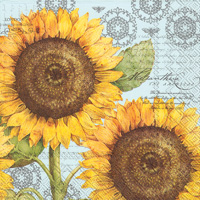 Botanical Sunflower Light Blue Lunch Napkins
