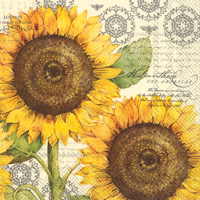 Botanical Sunflower Cream Lunch Napkins